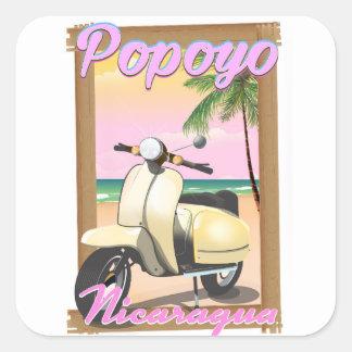 Poster de viagens da praia de Popoyo Nicarágua Adesivo Quadrado