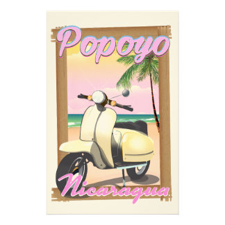 Poster de viagens da praia de Popoyo Nicarágua Papelaria