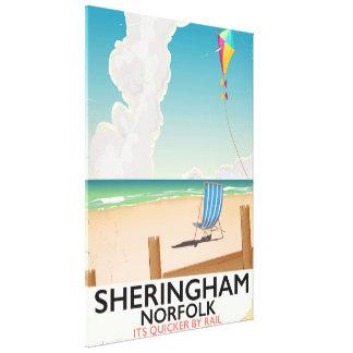 Poster de viagens da praia de Sheringham Norfolk Impressão Em Canvas