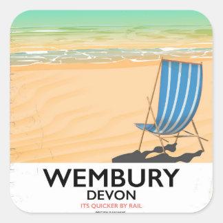 Poster de viagens da praia de Wembury Devon Adesivo Quadrado