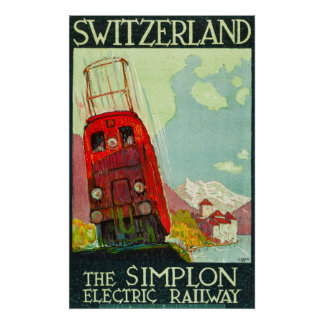 Poster de viagens da suiça, estrada de ferro
