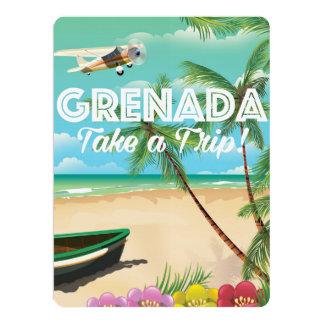 Poster de viagens das férias do vintage de Grenada Convite 16.51 X 22.22cm