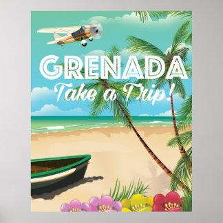 Poster de viagens das férias do vintage de Grenada Pôster
