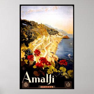 Poster de viagens de Amalfi Italia do vintage