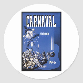 Poster de viagens de Carnaval Habana Adesivo Redondo
