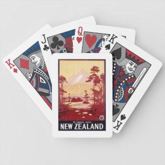 Poster de viagens de Egmont Nova Zelândia da monta Baralhos De Pôquer