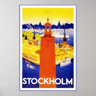 Poster de viagens de Éstocolmo do vintage