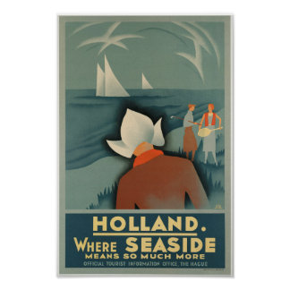 Poster de viagens de Holland do vintage