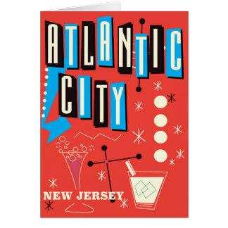 Poster de viagens de jogo do vintage de Atlantic Cartão Comemorativo