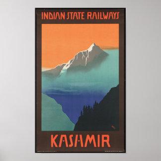 Poster de viagens de Kashmir do vintage