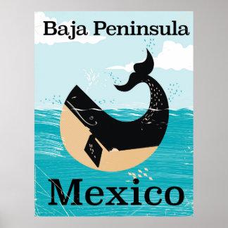 poster de viagens de México da península do baja