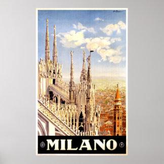 Poster de viagens de Milão Italia do vintage