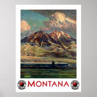 Poster de viagens de Montana do vintage