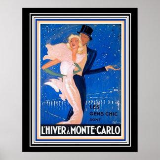Poster de viagens de Monte - de Carlo Deco