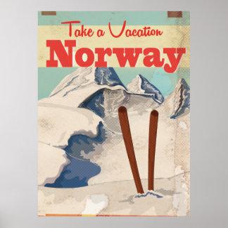 Poster de viagens de Noruega do vintage Pôster