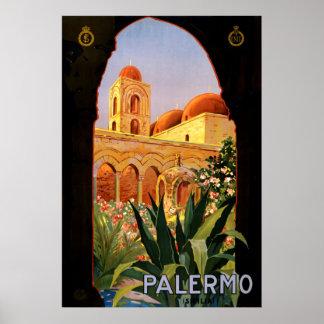 Poster de viagens de Palermo Italia do vintage