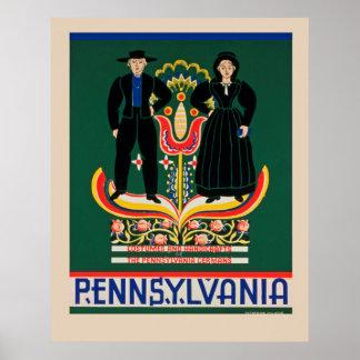 Poster de viagens de Pensilvânia do vintage