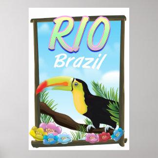 Poster de viagens de Rio Brasil Toucan