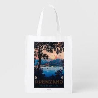 Poster de viagens de Riviera do italiano Sacolas Ecológicas