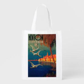 Poster de viagens de Riviera francês # 1 Sacolas Ecológicas