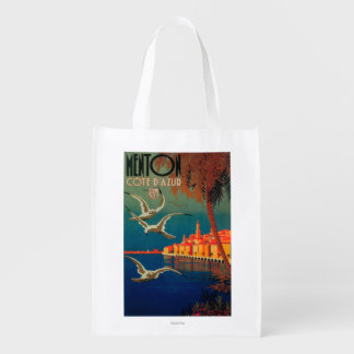 Poster de viagens de Riviera francês # 1 Sacolas Reusáveis