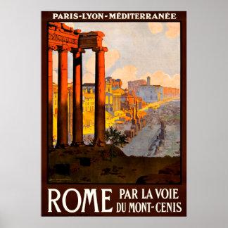 Poster de viagens de Roma Italia do vintage