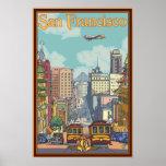 Poster de viagens de San Francisco - rua de Califó