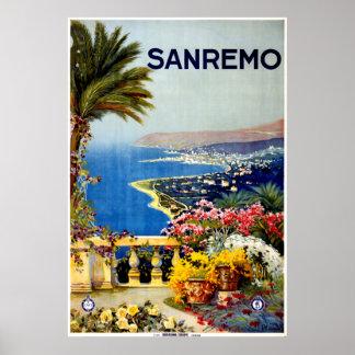 Poster de viagens de Sanremo Italia do vintage