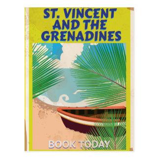Poster de viagens de São Vicente e Granadinas Cartão Postal