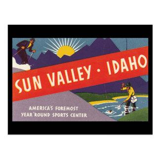 Poster de viagens de Sun Valley Idaho_Vintage Cartão Postal