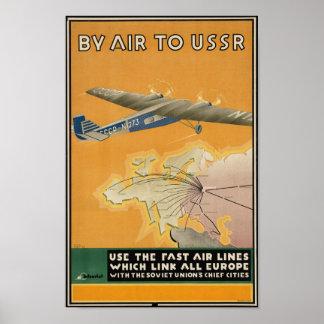 Poster de viagens de União Soviética do vintage