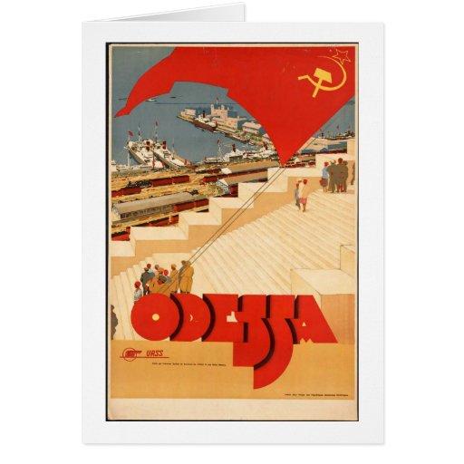 Poster de viagens de URSS do vintage Cartão