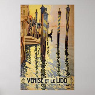Poster de viagens de Veneza do vintage
