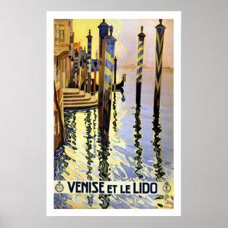 Poster de viagens de Veneza Italia do vintage