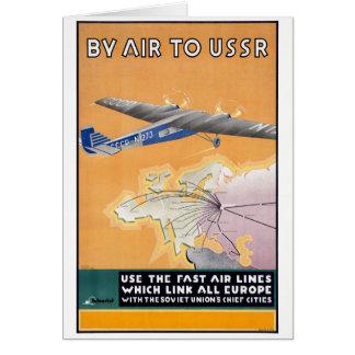 Poster de viagens do ar do vintage de URSS Cartão Comemorativo