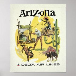 Poster de viagens do avião da arizona do vintage pôster