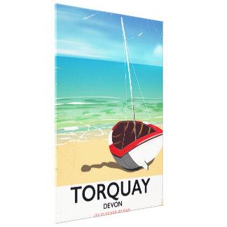 Poster de viagens do beira-mar do vintage de impressão em tela
