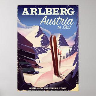 Poster de viagens do esqui de Arlberg Áustria