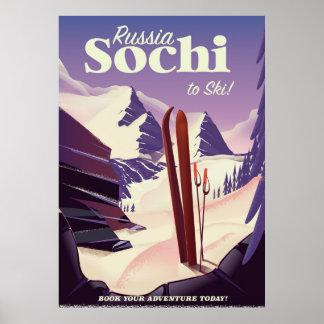 Poster de viagens do esqui de Sochi Rússia