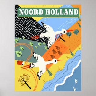 Poster de viagens do estilo do vintage de Noord