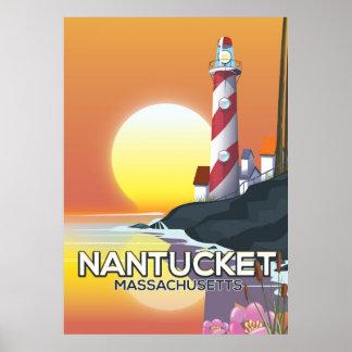 Poster de viagens do farol de Nantucket