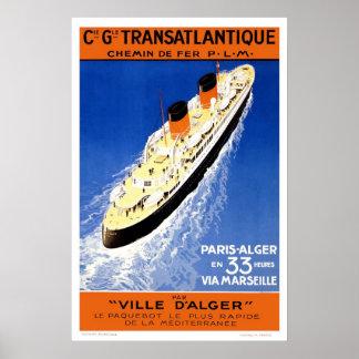 Poster de viagens do francês do vintage