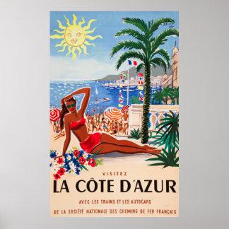 Poster de viagens do francês do vintage de Cote