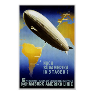 Poster de viagens do Graf Zepelim Vintage Alemão