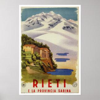 Poster de viagens do italiano do vintage de Rieti