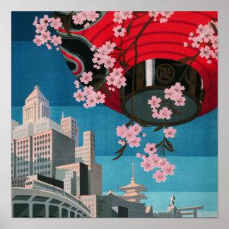 Poster de viagens do japonês do vintage de Japão Pôster