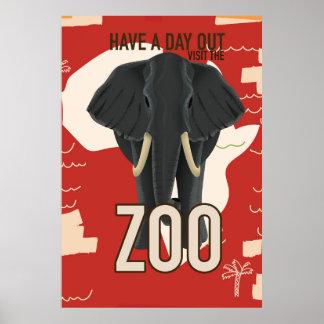 poster de viagens do jardim zoológico do vintage pôster