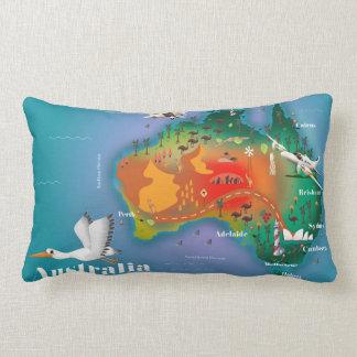 Poster de viagens do mapa de Austrália Almofada Lombar
