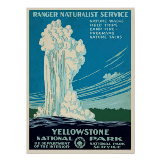 Poster de viagens do parque de Yellowstone do