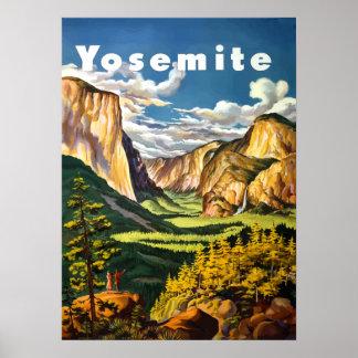 Poster de viagens do parque nacional de Yosemite